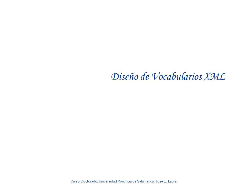 Curso Doctorado, Universidad Pontificia de Salamanca (Jose E. Labra) Diseño de Vocabularios XML