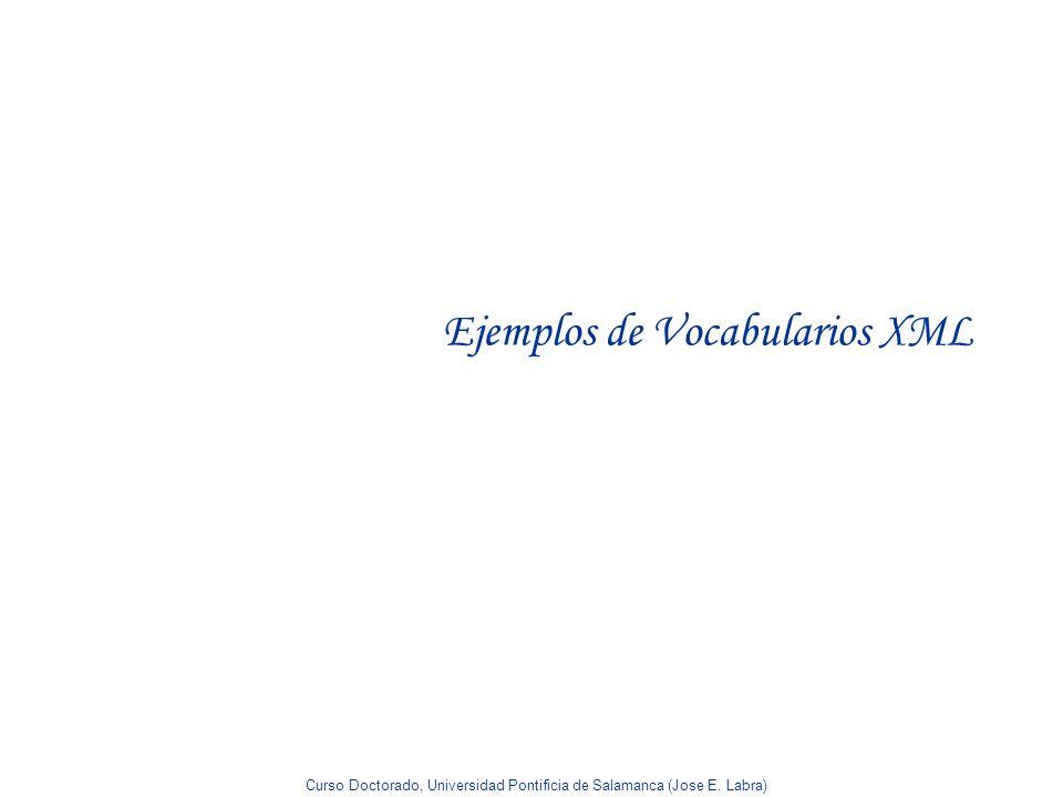 Curso Doctorado, Universidad Pontificia de Salamanca (Jose E. Labra) Ejemplos de Vocabularios XML