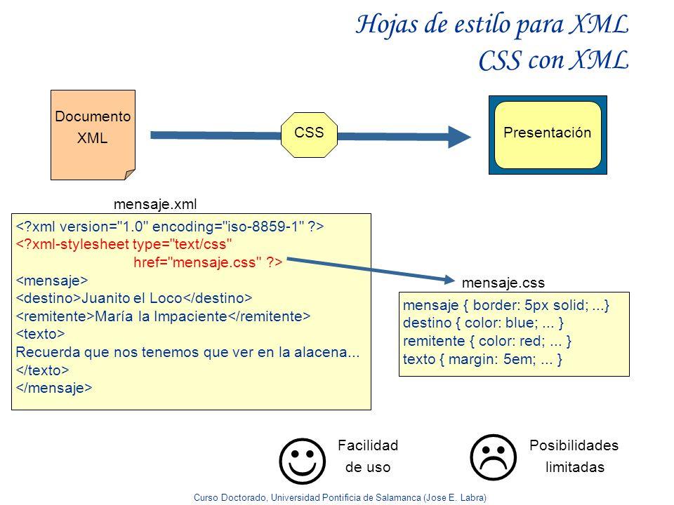 Curso Doctorado, Universidad Pontificia de Salamanca (Jose E. Labra) Hojas de estilo para XML CSS con XML <?xml-stylesheet type=