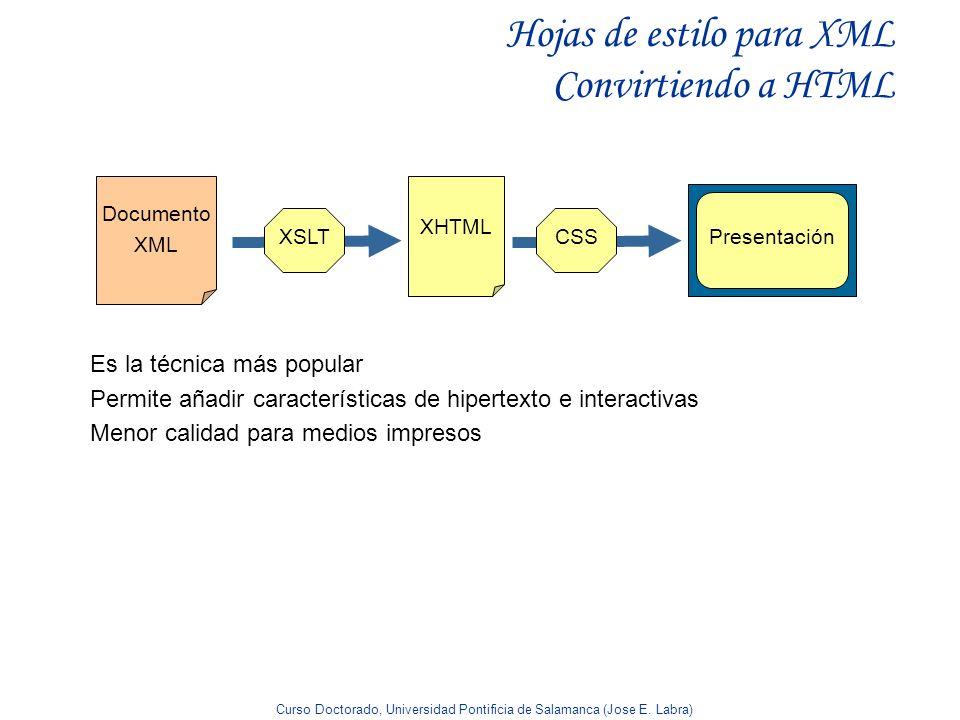 Curso Doctorado, Universidad Pontificia de Salamanca (Jose E. Labra) Hojas de estilo para XML Convirtiendo a HTML Es la técnica más popular Permite añ