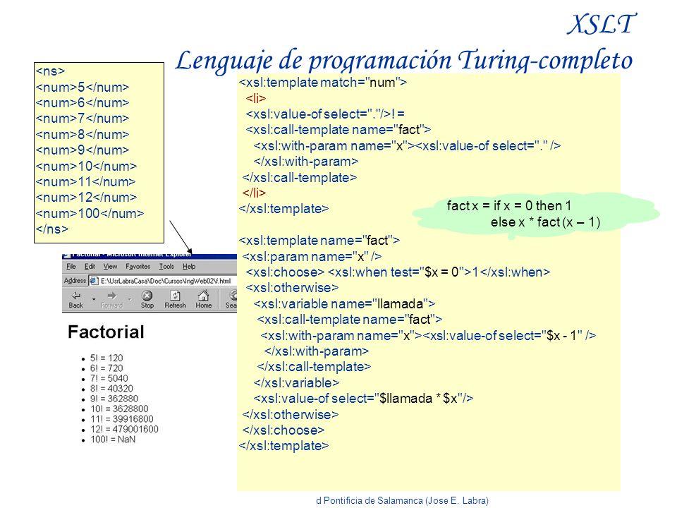 Curso Doctorado, Universidad Pontificia de Salamanca (Jose E. Labra) XSLT Lenguaje de programación Turing-completo 5 6 7 8 9 10 11 12 100 ! = 1 fact x