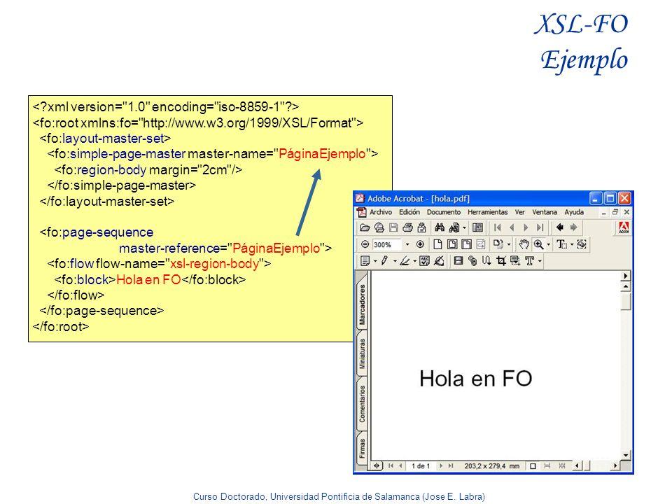 Curso Doctorado, Universidad Pontificia de Salamanca (Jose E. Labra) XSL-FO Ejemplo <fo:page-sequence master-reference=