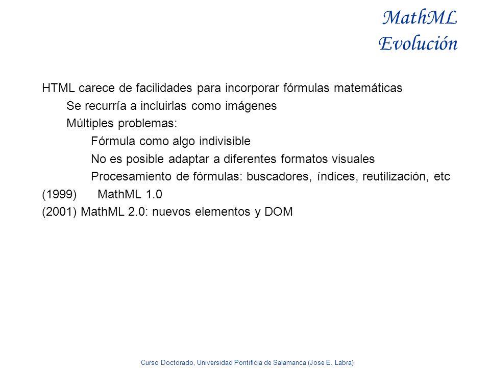 Curso Doctorado, Universidad Pontificia de Salamanca (Jose E. Labra) MathML Evolución HTML carece de facilidades para incorporar fórmulas matemáticas