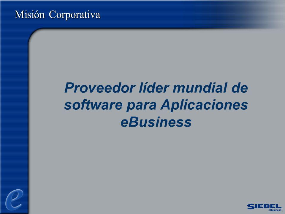 Misión Corporativa Proveedor líder mundial de software para Aplicaciones eBusiness