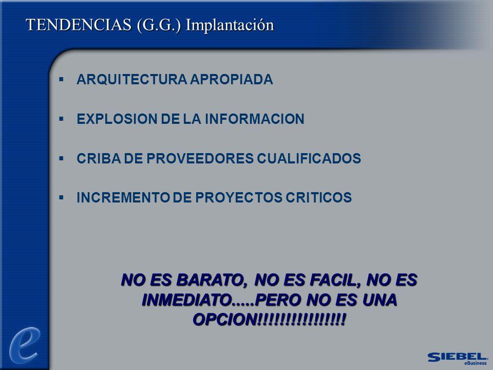 TENDENCIAS (G.G.) Implantación ARQUITECTURA APROPIADA EXPLOSION DE LA INFORMACION CRIBA DE PROVEEDORES CUALIFICADOS INCREMENTO DE PROYECTOS CRITICOS NO ES BARATO, NO ES FACIL, NO ES INMEDIATO.....PERO NO ES UNA OPCION!!!!!!!!!!!!!!!!