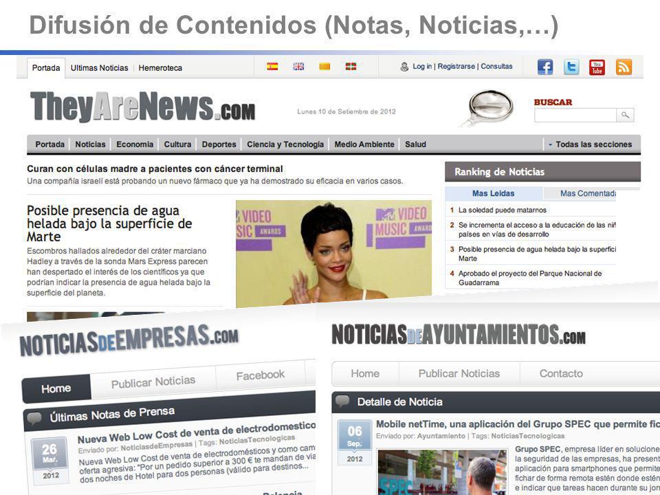 Difusión de Contenidos (Notas, Noticias,…)