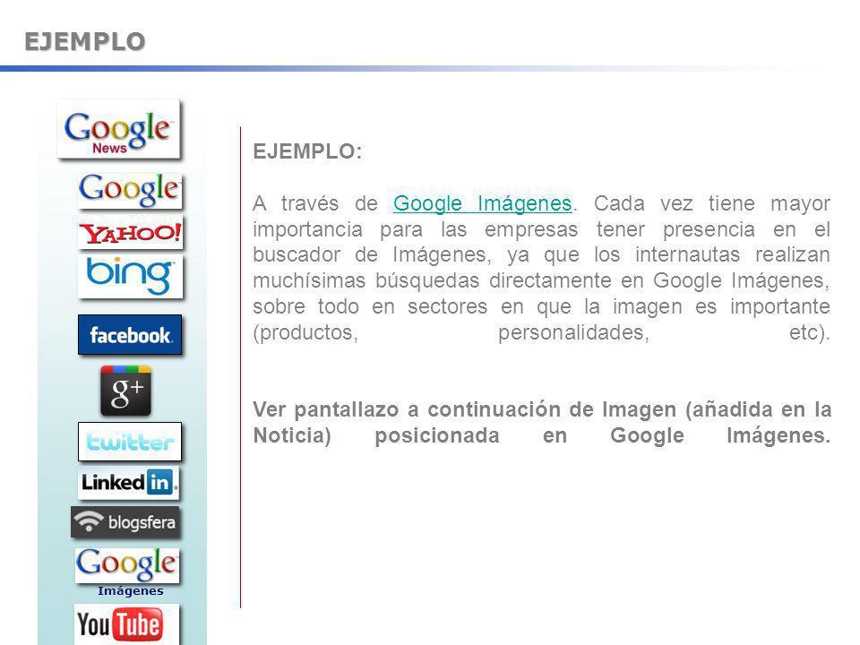 EJEMPLO EJEMPLO: A través de Google Imágenes. Cada vez tiene mayor importancia para las empresas tener presencia en el buscador de Imágenes, ya que lo