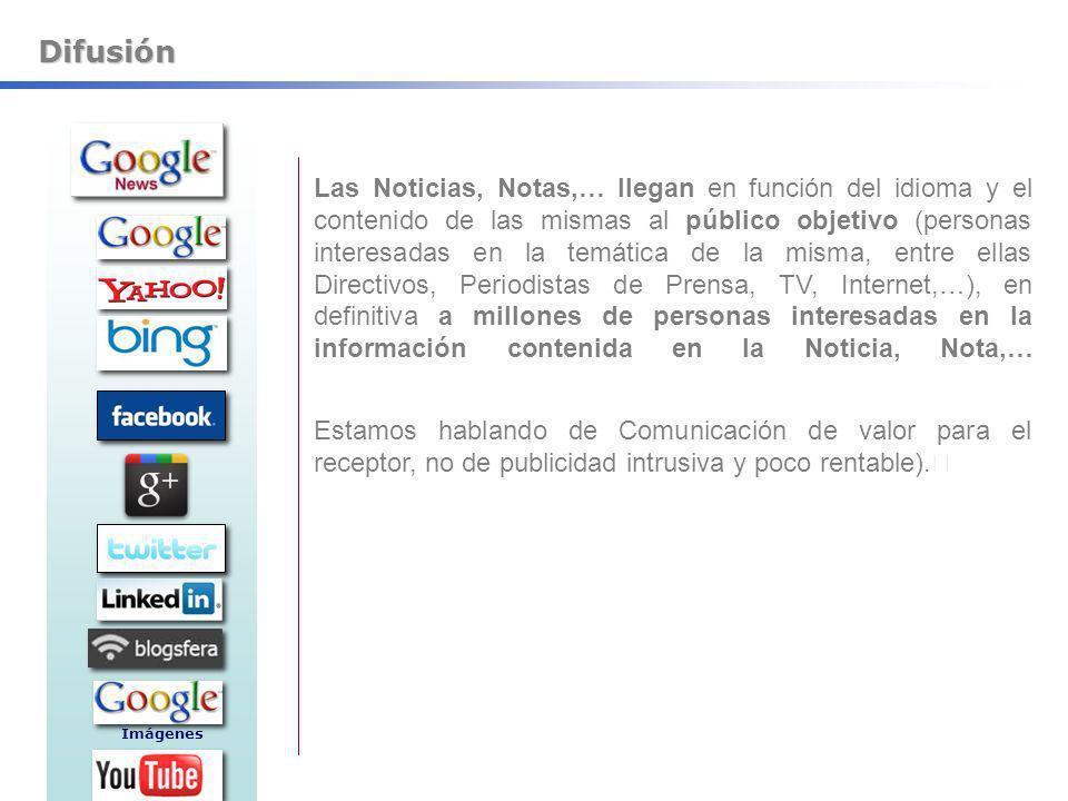 Difusión Las Noticias, Notas,… llegan en función del idioma y el contenido de las mismas al público objetivo (personas interesadas en la temática de l