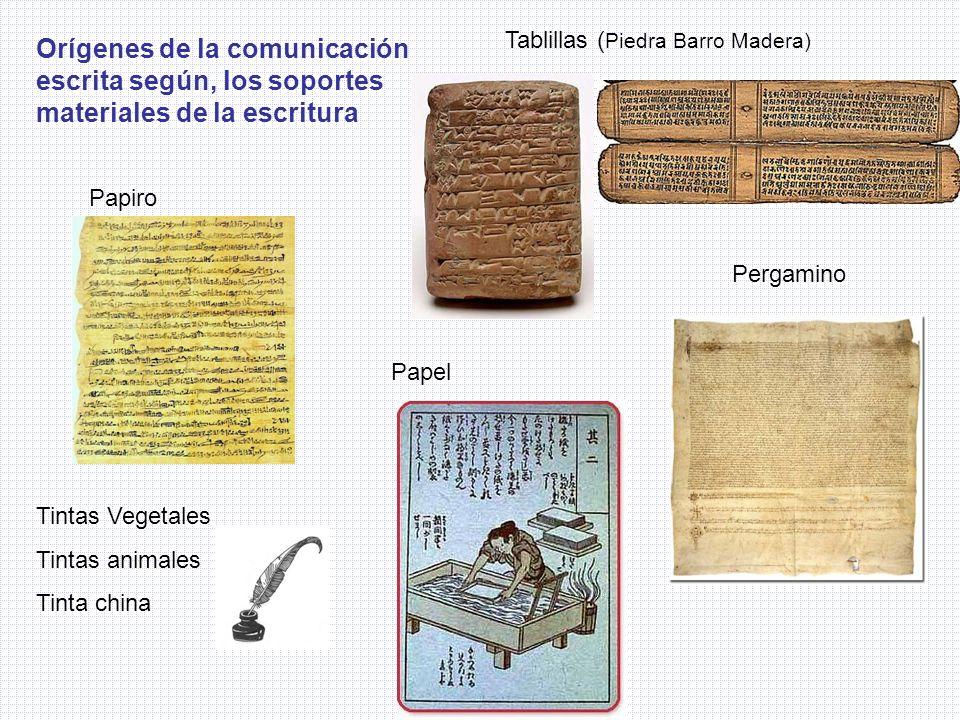 Tablillas ( Piedra Barro Madera) Tintas Vegetales Tintas animales Tinta china Papiro Pergamino Papel Orígenes de la comunicación escrita según, los so