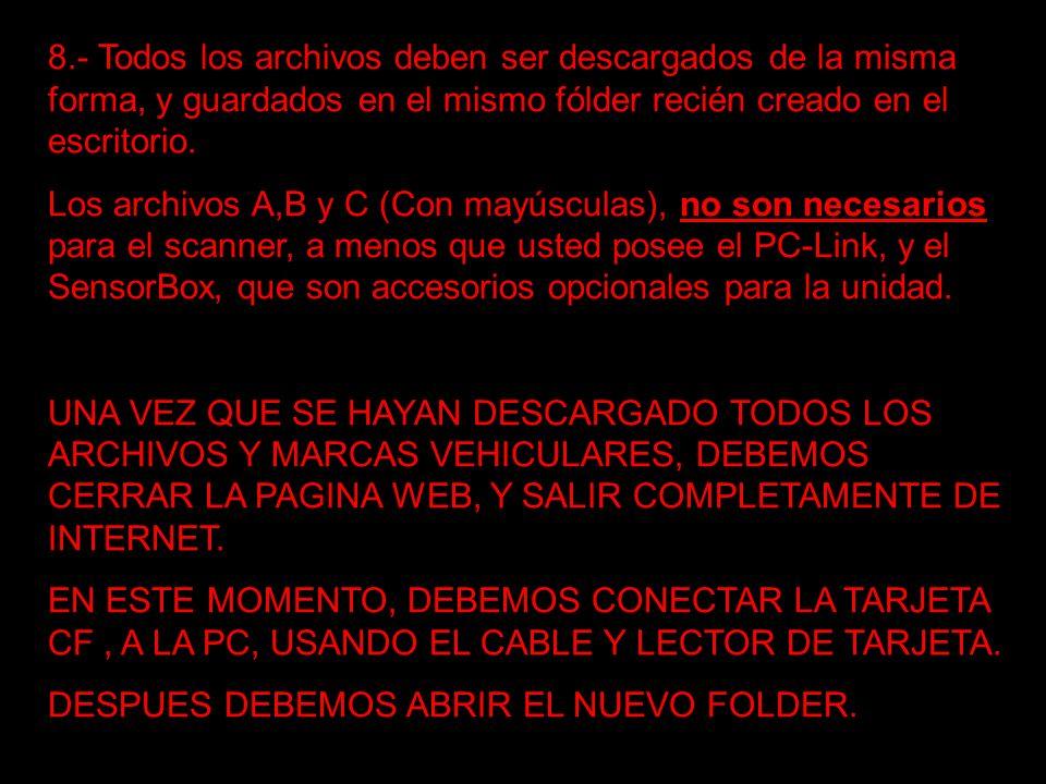 8.- Todos los archivos deben ser descargados de la misma forma, y guardados en el mismo fólder recién creado en el escritorio. Los archivos A,B y C (C