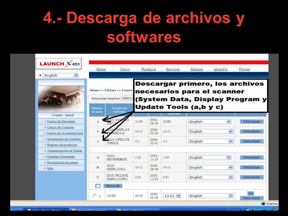 5.– En esta pagina, vamos a descargar primero los archivos a,b y c, que son necesarios para el buen funcionamiento del scanner.