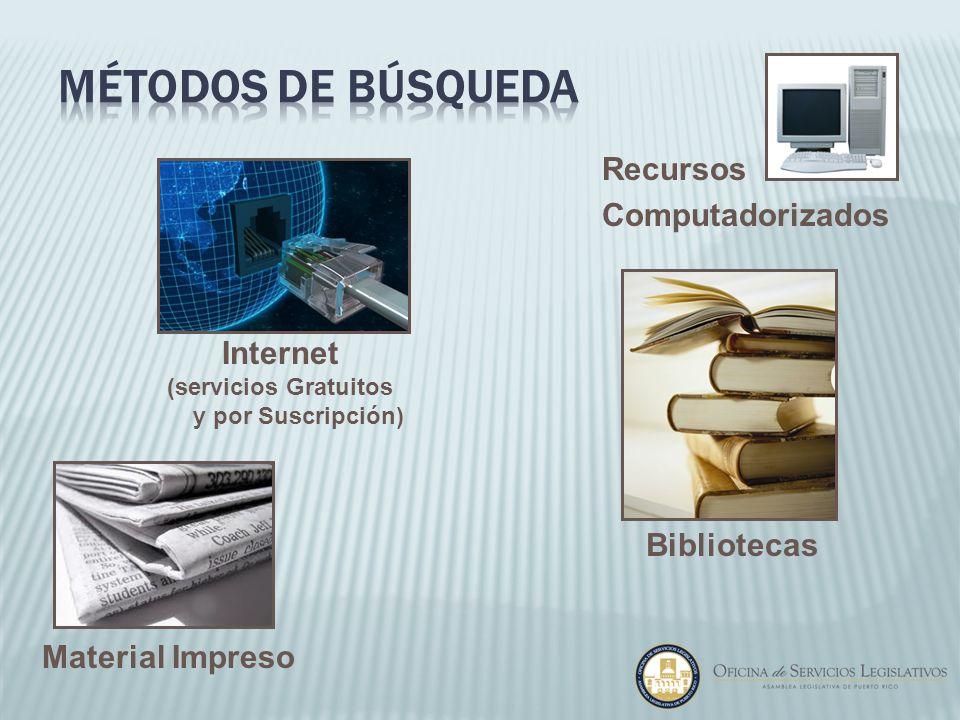Material Impreso Recursos Computadorizados Internet (servicios Gratuitos y por Suscripción) Bibliotecas