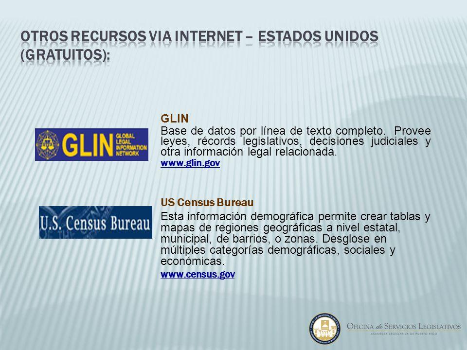 GLIN Base de datos por línea de texto completo. Provee leyes, récords legislativos, decisiones judiciales y otra información legal relacionada. www.gl