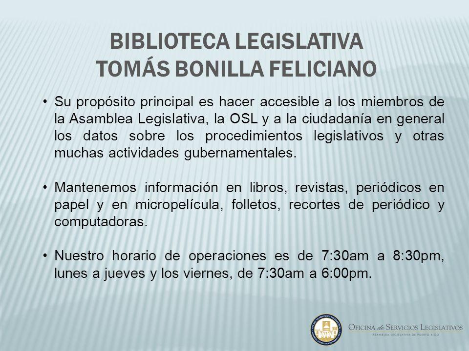 Su propósito principal es hacer accesible a los miembros de la Asamblea Legislativa, la OSL y a la ciudadanía en general los datos sobre los procedimi