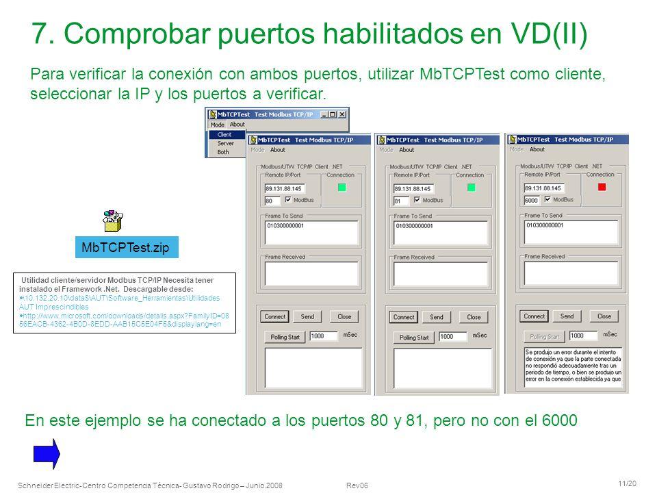 Schneider Electric 11/20 -Centro Competencia Técnica- Gustavo Rodrigo – Junio.2008 Rev06 7. Comprobar puertos habilitados en VD(II) Para verificar la