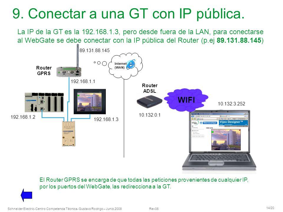 Schneider Electric 14/20 -Centro Competencia Técnica- Gustavo Rodrigo – Junio.2008 Rev06 9. Conectar a una GT con IP pública. La IP de la GT es la 192