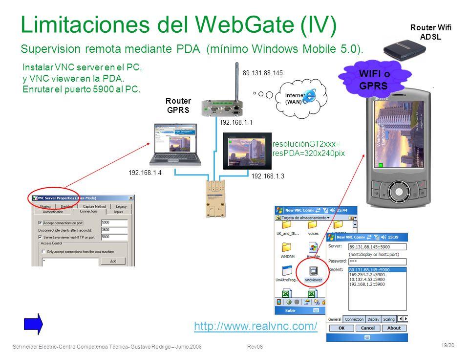 Schneider Electric 19/20 -Centro Competencia Técnica- Gustavo Rodrigo – Junio.2008 Rev06 Limitaciones del WebGate (IV) Supervision remota mediante PDA