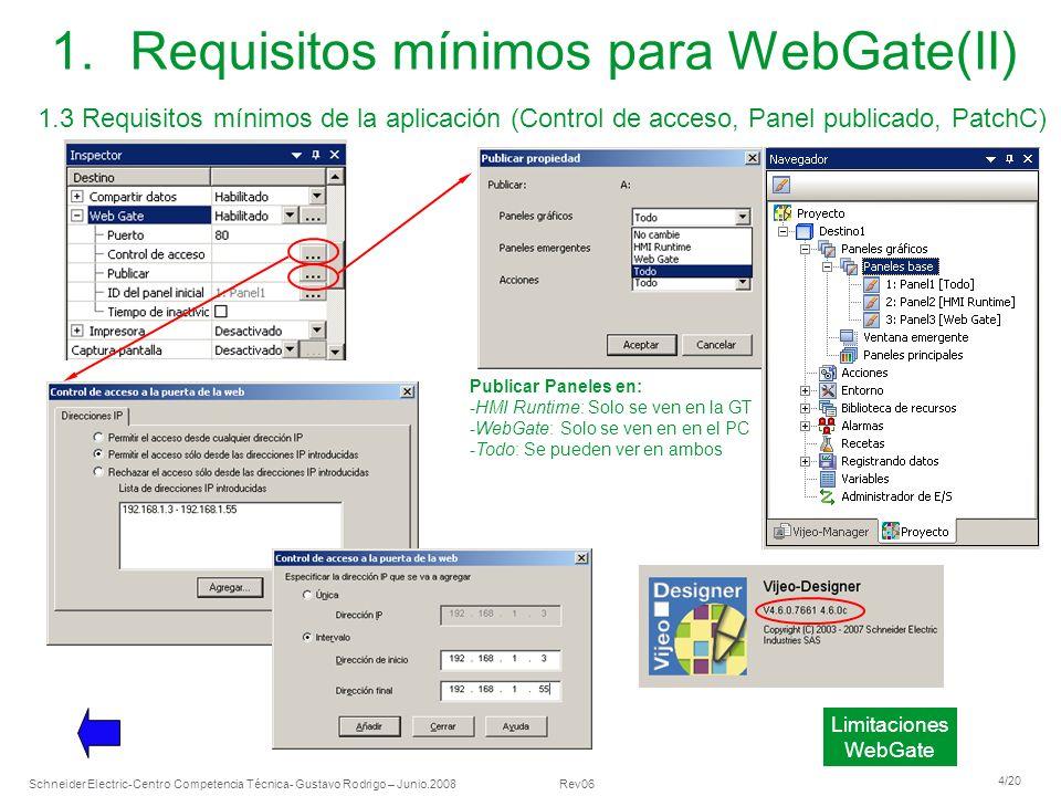 Schneider Electric 4/20 -Centro Competencia Técnica- Gustavo Rodrigo – Junio.2008 Rev06 1.Requisitos mínimos para WebGate(II) 1.3 Requisitos mínimos d