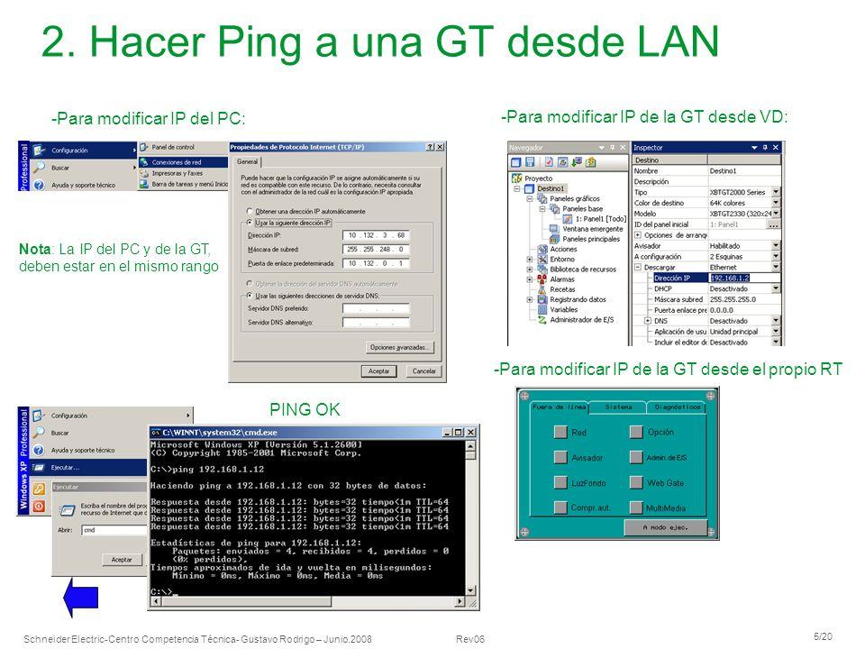Schneider Electric 5/20 -Centro Competencia Técnica- Gustavo Rodrigo – Junio.2008 Rev06 2. Hacer Ping a una GT desde LAN -Para modificar IP del PC: -P