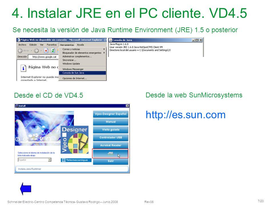 Schneider Electric 7/20 -Centro Competencia Técnica- Gustavo Rodrigo – Junio.2008 Rev06 4. Instalar JRE en el PC cliente. VD4.5 Desde el CD de VD4.5 D
