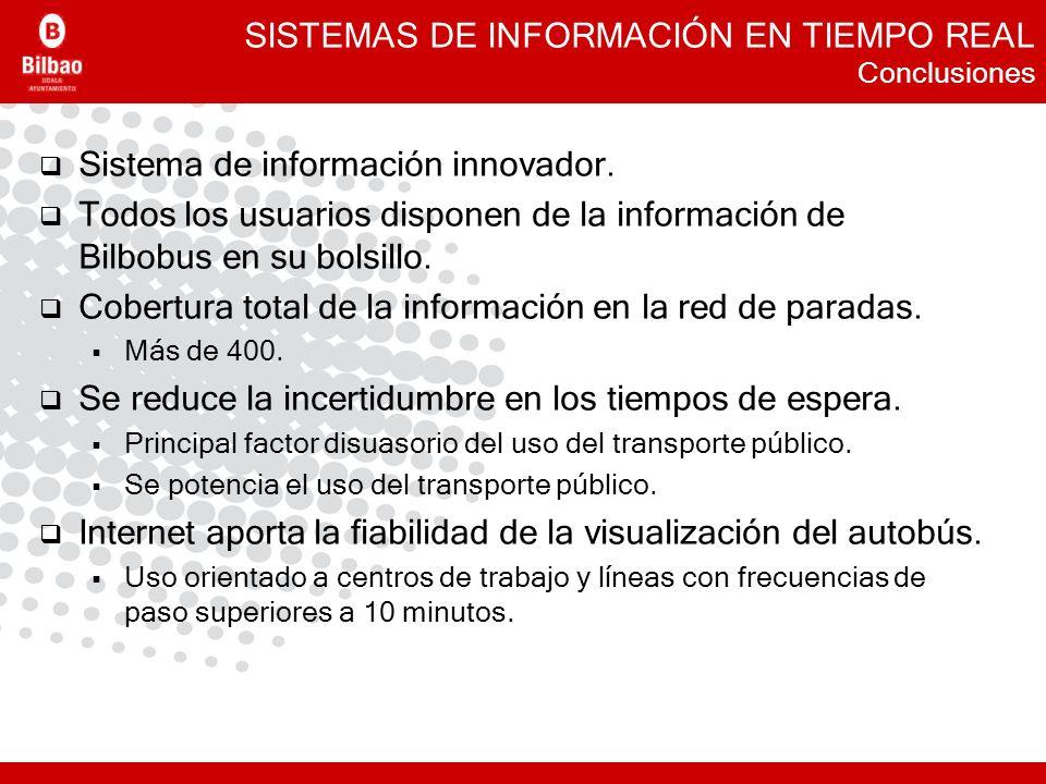 SISTEMAS DE INFORMACIÓN EN TIEMPO REAL Conclusiones Sistema de información innovador. Todos los usuarios disponen de la información de Bilbobus en su