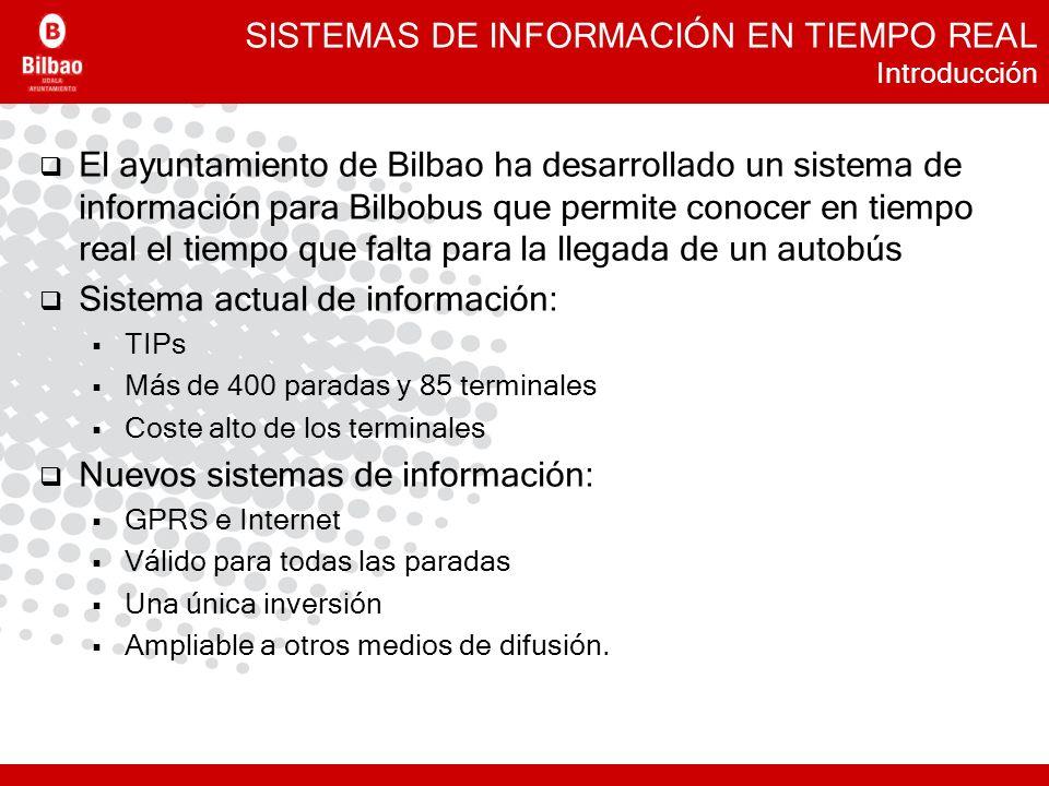SISTEMAS DE INFORMACIÓN EN TIEMPO REAL Introducción El ayuntamiento de Bilbao ha desarrollado un sistema de información para Bilbobus que permite cono