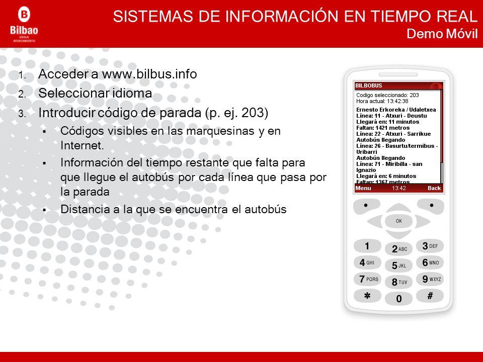 SISTEMAS DE INFORMACIÓN EN TIEMPO REAL Demo Móvil 1. Acceder a www.bilbus.info 2. Seleccionar idioma 3. Introducir código de parada (p. ej. 203) Códig