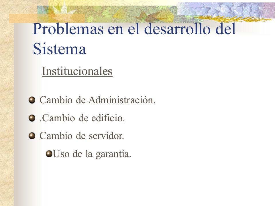 Problemas en el desarrollo del Sistema Cambio de Administración..Cambio de edificio. Cambio de servidor. Uso de la garantía. Institucionales