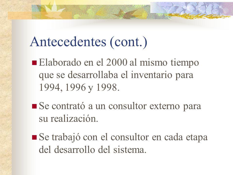 Antecedentes (cont.) Elaborado en el 2000 al mismo tiempo que se desarrollaba el inventario para 1994, 1996 y 1998. Se contrató a un consultor externo