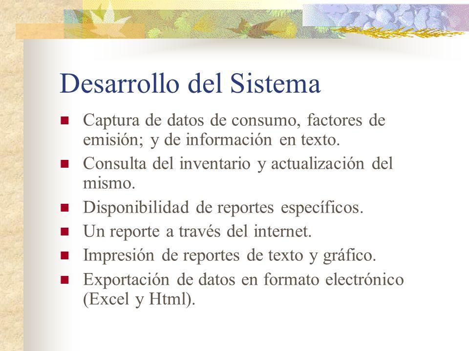 Desarrollo del Sistema Captura de datos de consumo, factores de emisión; y de información en texto. Consulta del inventario y actualización del mismo.