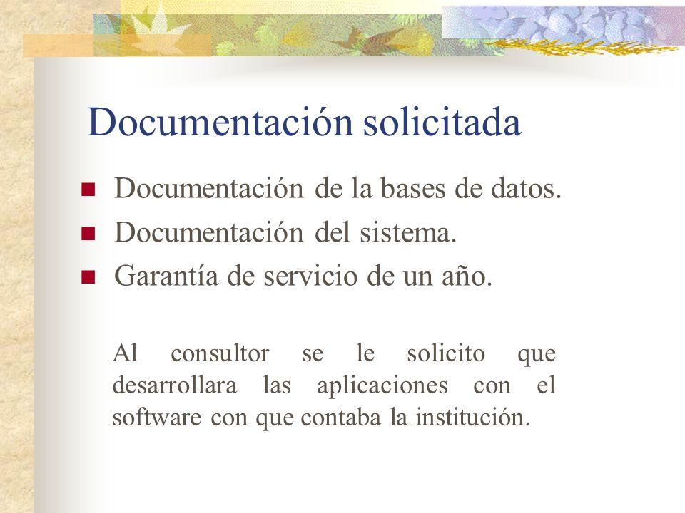 Documentación solicitada Documentación de la bases de datos. Documentación del sistema. Garantía de servicio de un año. Al consultor se le solicito qu