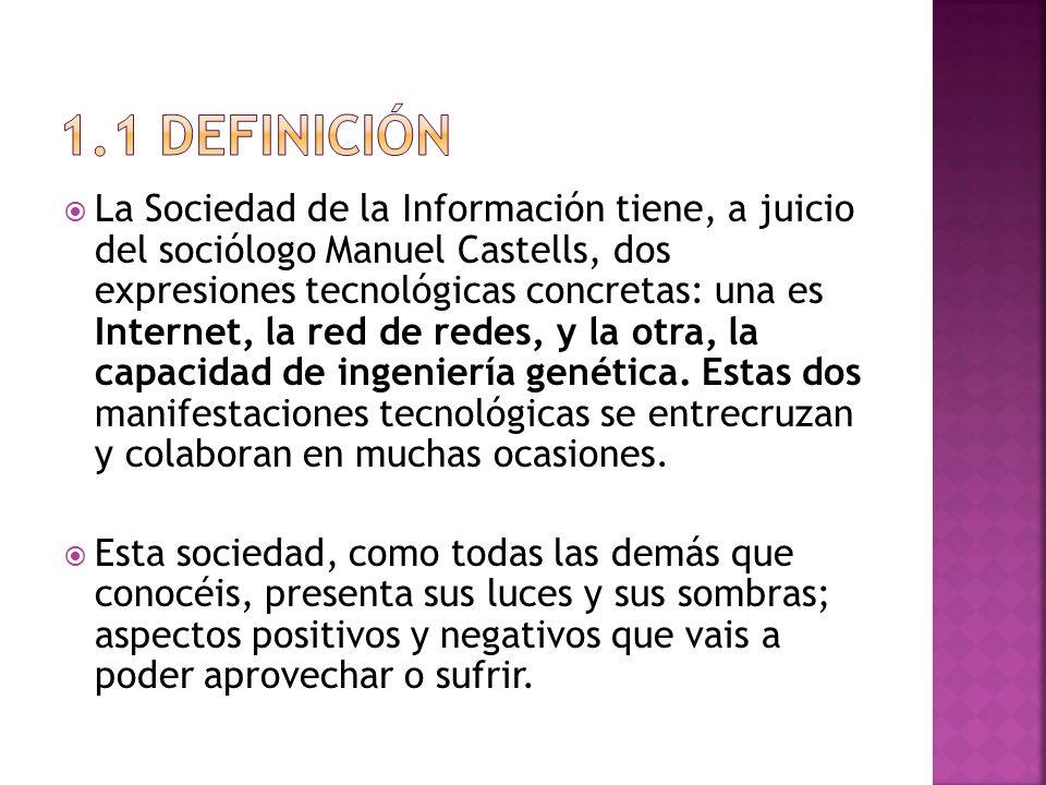 La Sociedad de la Información tiene, a juicio del sociólogo Manuel Castells, dos expresiones tecnológicas concretas: una es Internet, la red de redes,