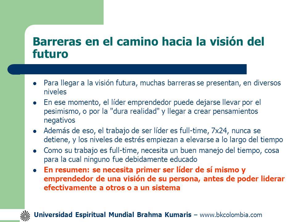 Universidad Espiritual Mundial Brahma Kumaris – www.bkcolombia.com Veamos el siguiente esquema VISIÓN DEL FUTURO Tiempo Energía Estrés Propósito Valores