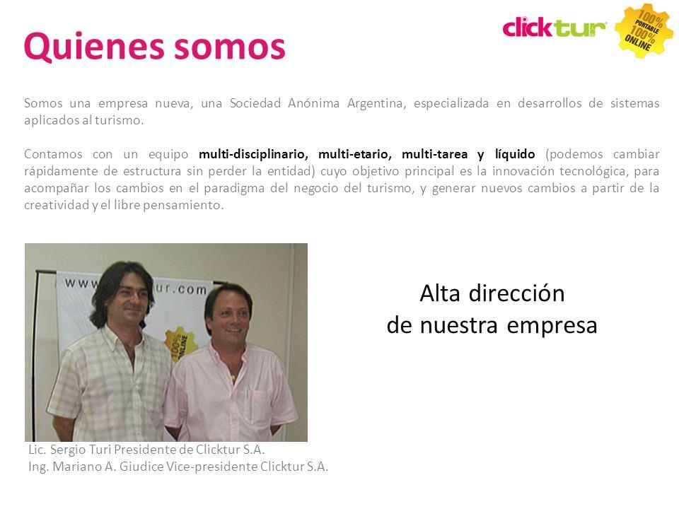 Qui Somos una empresa nueva, una Sociedad Anónima Argentina, especializada en desarrollos de sistemas aplicados al turismo. Contamos con un equipo mul