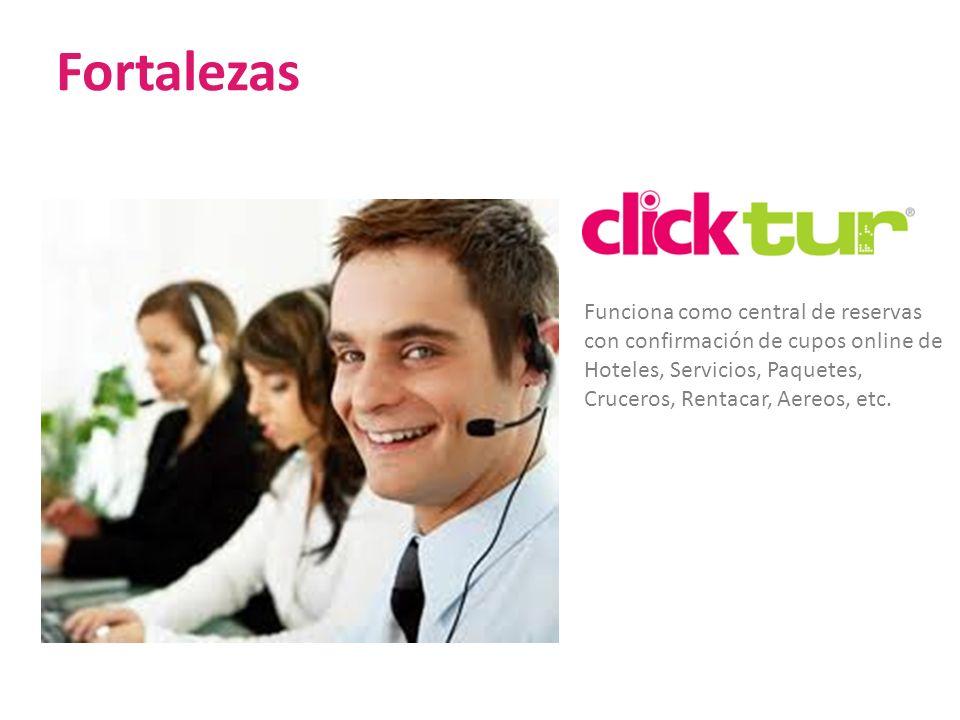 Fortalezas Funciona como central de reservas con confirmación de cupos online de Hoteles, Servicios, Paquetes, Cruceros, Rentacar, Aereos, etc.