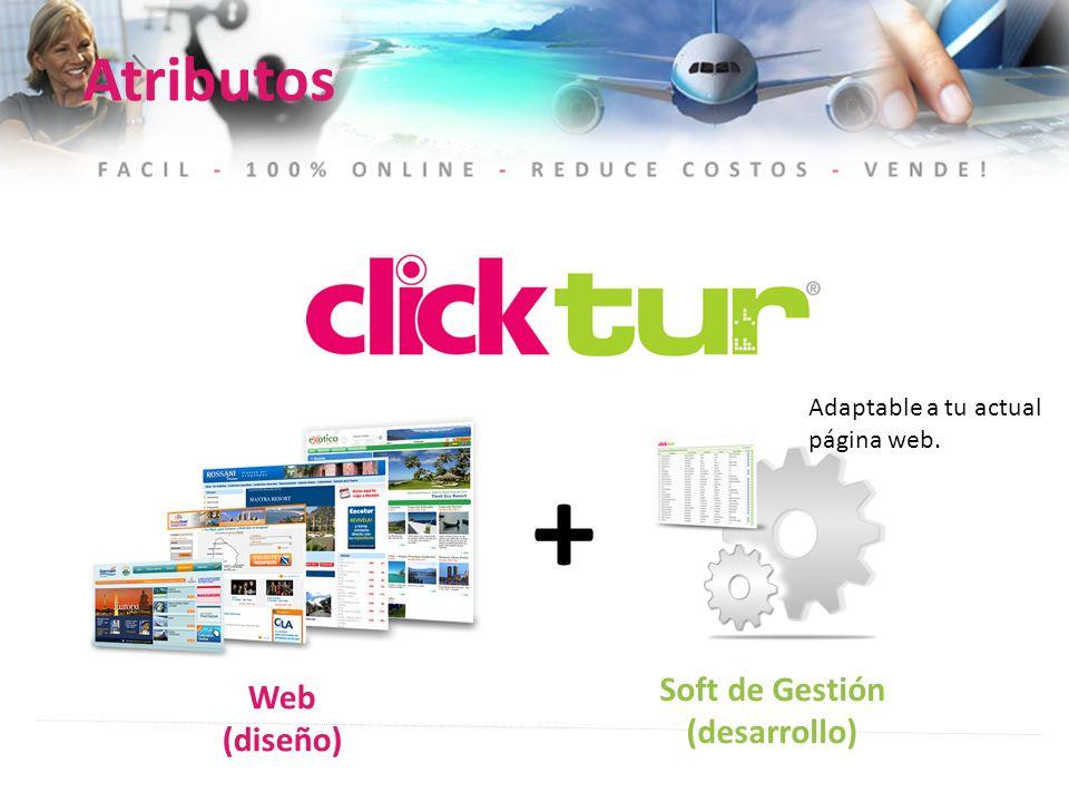 + Web (diseño) Soft de Gestión (desarrollo) Atributos Adaptable a tu actual página web.