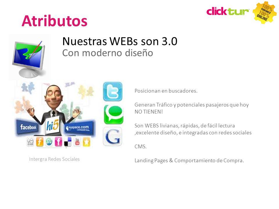 Nuestras WEBs son 3.0 Con moderno diseño Posicionan en buscadores. Generan Tráfico y potenciales pasajeros que hoy NO TIENEN! Son WEBS livianas, rápid