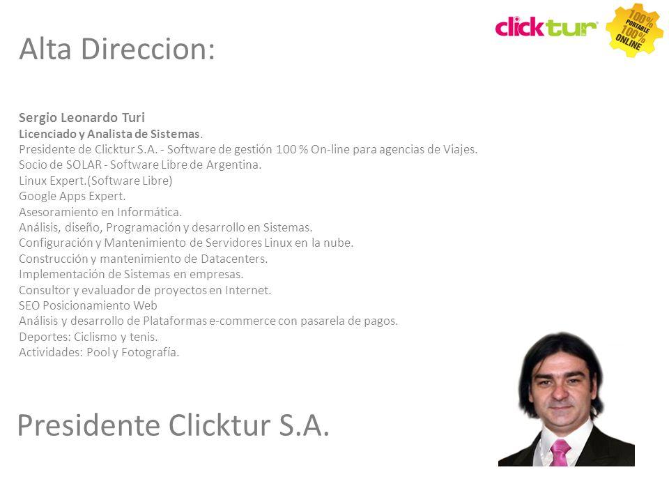 Qui Sergio Leonardo Turi Licenciado y Analista de Sistemas. Presidente de Clicktur S.A. - Software de gestión 100 % On-line para agencias de Viajes. S