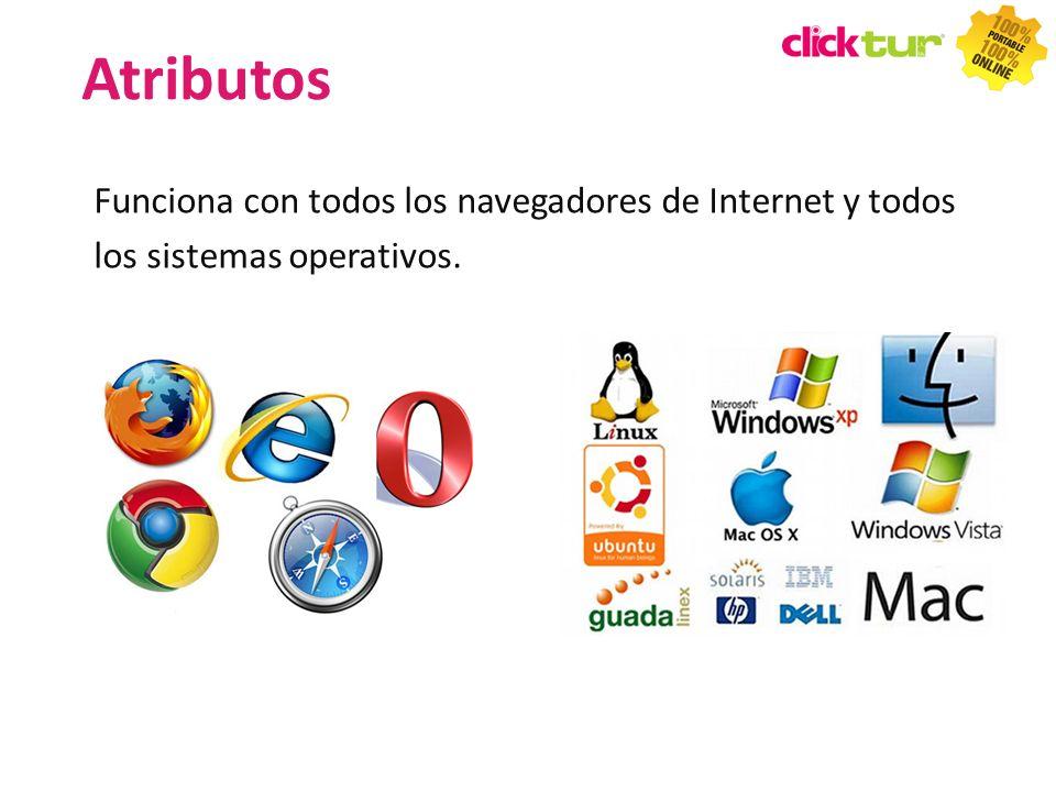 Funciona con todos los navegadores de Internet y todos los sistemas operativos. Atributos