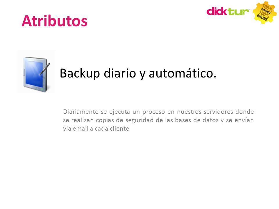 Backup diario y automático. Diariamente se ejecuta un proceso en nuestros servidores donde se realizan copias de seguridad de las bases de datos y se