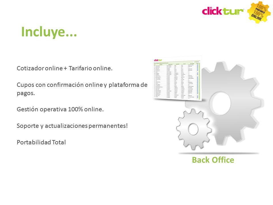 Incluye... Cotizador online + Tarifario online. Cupos con confirmación online y plataforma de pagos. Gestión operativa 100% online. Soporte y actualiz