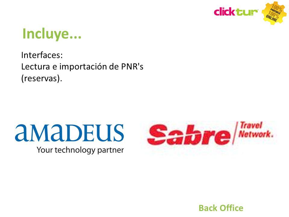 Incluye... Interfaces: Lectura e importación de PNR's (reservas). Back Office