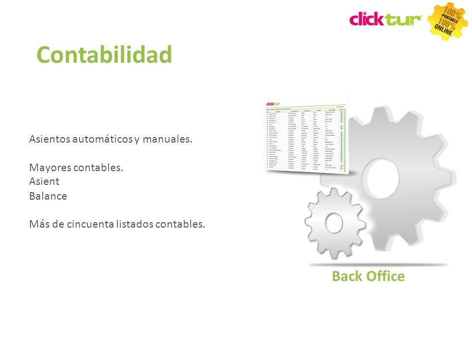 Contabilidad Asientos automáticos y manuales. Mayores contables. Balance Más de cincuenta listados contables. Back Office Asient