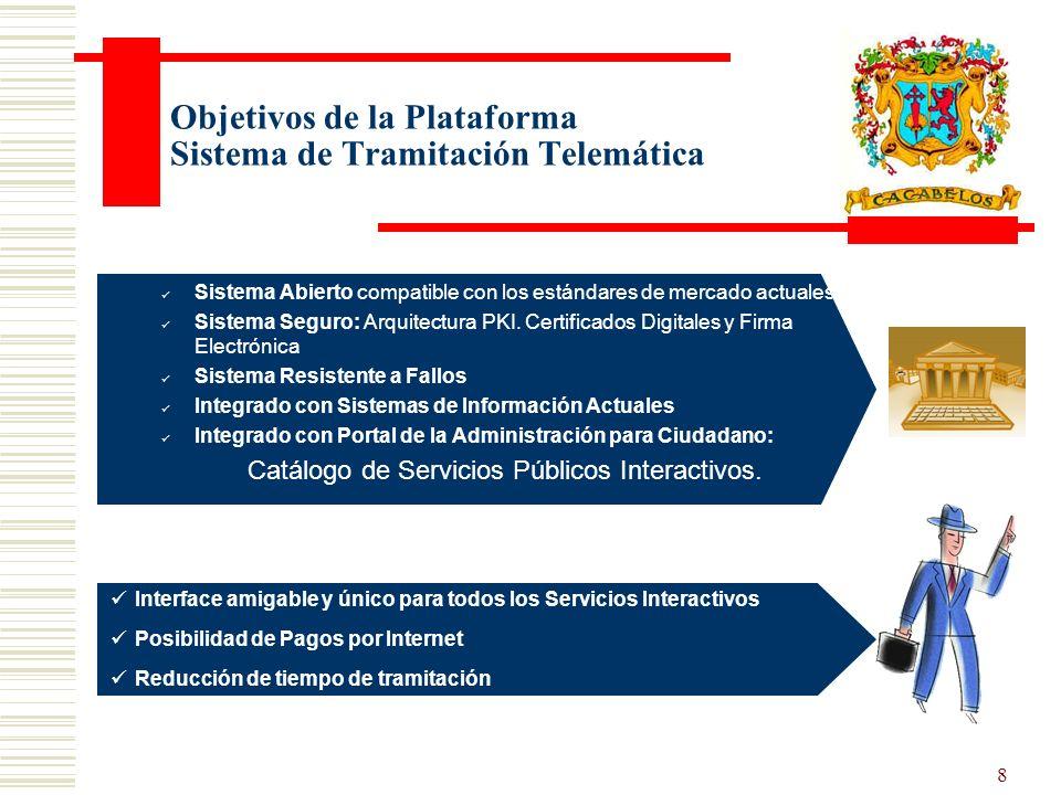 8 Objetivos de la Plataforma Sistema de Tramitación Telemática Sistema Abierto compatible con los estándares de mercado actuales Sistema Seguro: Arquitectura PKI.
