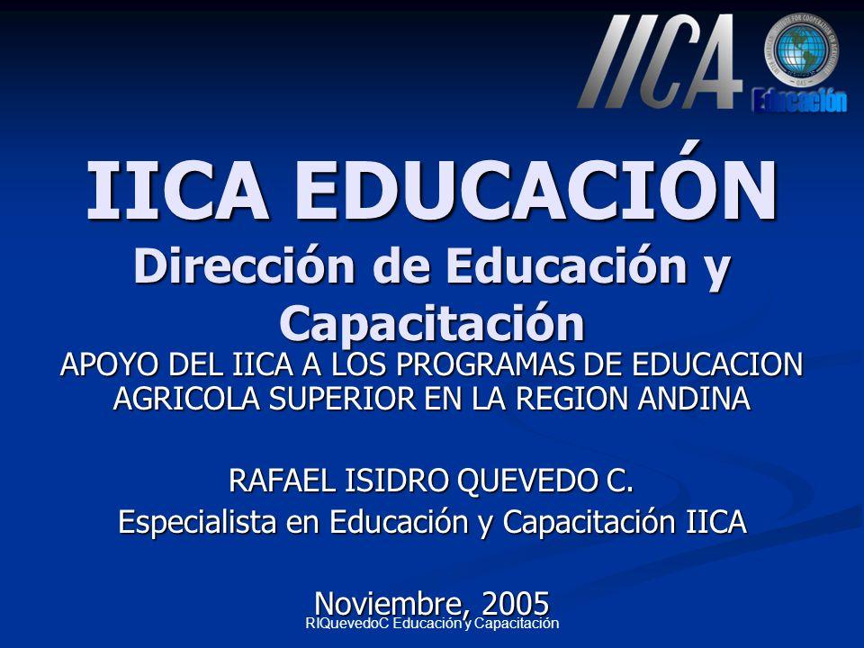 RIQuevedoC Educación y Capacitación CECADI Centro de Capacitación a Distancia México Proveer educación y capacitación a distancia oportuna y de calidad en temas estratégicos de cooperación del IICA utilizando tecnología de multimedios Proveer educación y capacitación a distancia oportuna y de calidad en temas estratégicos de cooperación del IICA utilizando tecnología de multimedios Red a Distancia Mercadeo de servicios Cursos virtuales: Videoconferencia, Internet, CD-Tutor Páginas Web Formatos multimedia Software Educativo Reuniones virtuales Asesorías técnicas