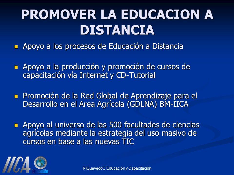 RIQuevedoC Educación y Capacitación PROMOVER LA EDUCACION A DISTANCIA Apoyo a los procesos de Educación a Distancia Apoyo a los procesos de Educación