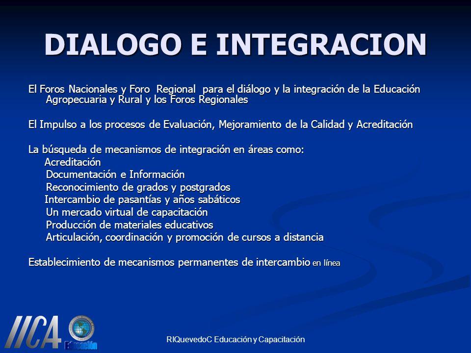 RIQuevedoC Educación y Capacitación DIALOGO E INTEGRACION El Foros Nacionales y Foro Regional para el diálogo y la integración de la Educación Agropec