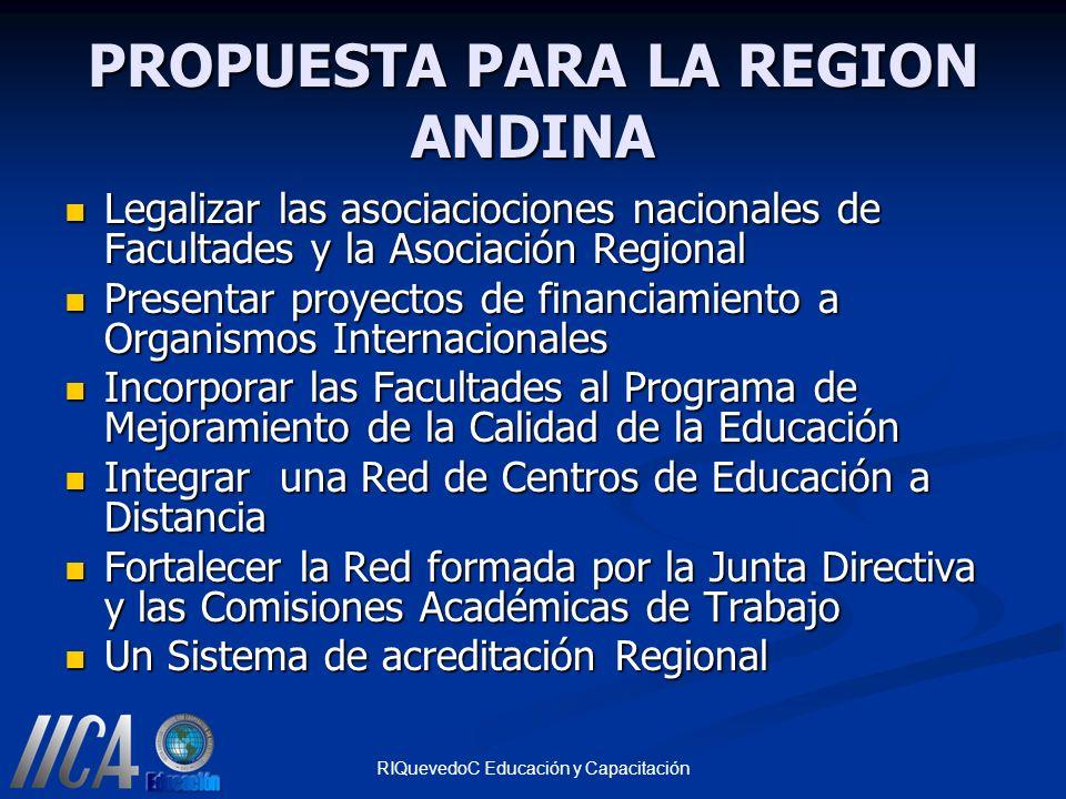 PROPUESTA PARA LA REGION ANDINA Legalizar las asociaciociones nacionales de Facultades y la Asociación Regional Legalizar las asociaciociones nacional
