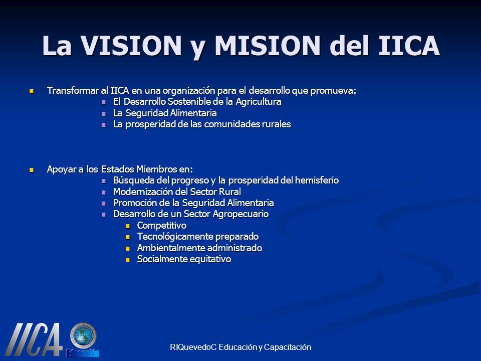 RIQuevedoC Educación y Capacitación La VISION y MISION del IICA Transformar al IICA en una organización para el desarrollo que promueva: Transformar a