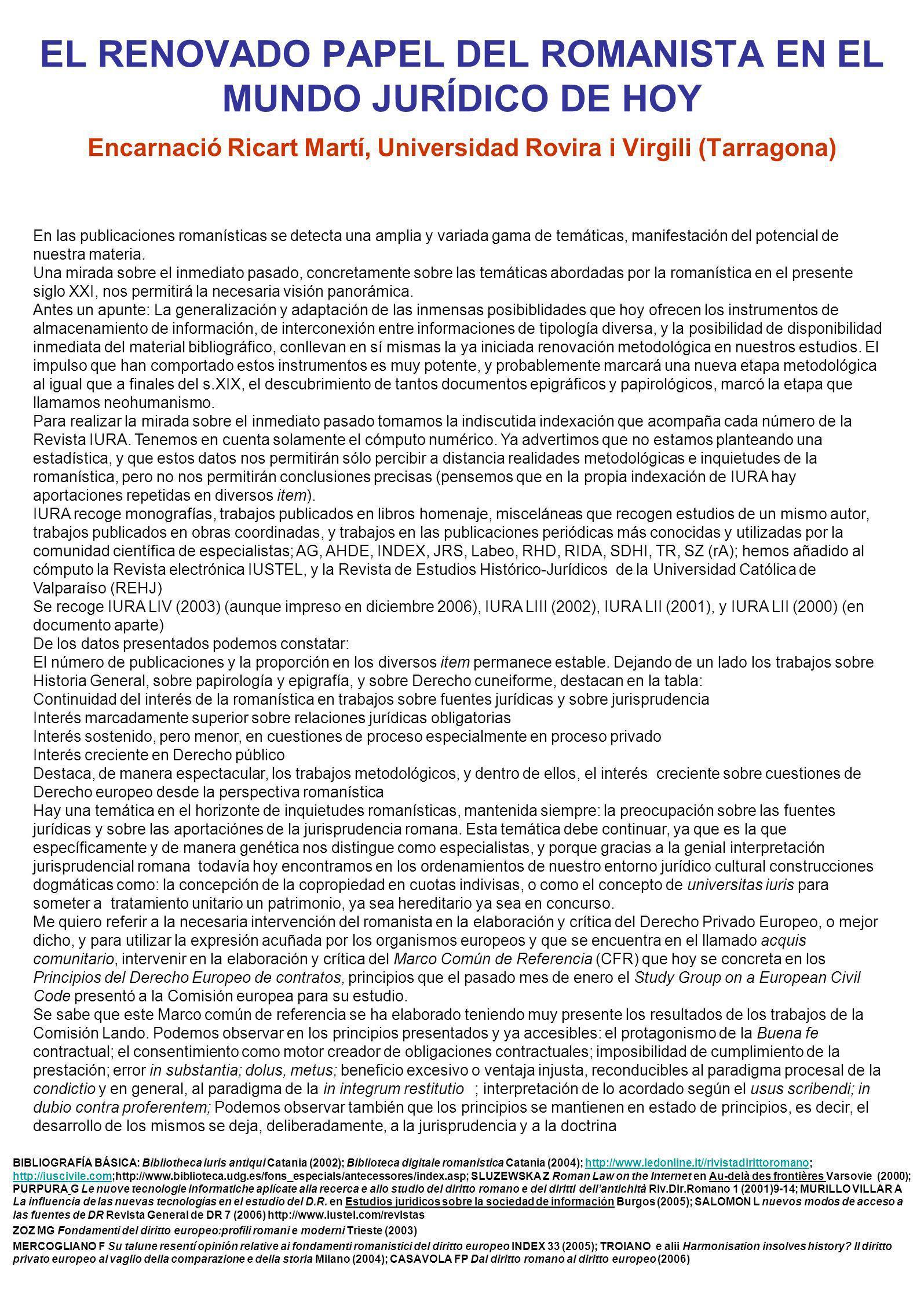 EL RENOVADO PAPEL DEL ROMANISTA EN EL MUNDO JURÍDICO DE HOY Encarnació Ricart Martí, Universidad Rovira i Virgili (Tarragona) BIBLIOGRAFÍA BÁSICA: Bib